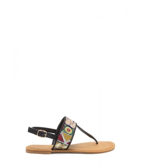 Incaltaminte Femei CheapChic Bali Beach Embroidered T-strap Sandals Black