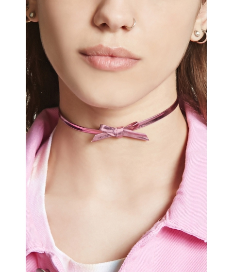 Bijuterii Femei Forever21 Faux Leather Metallic Bow Choker Pink