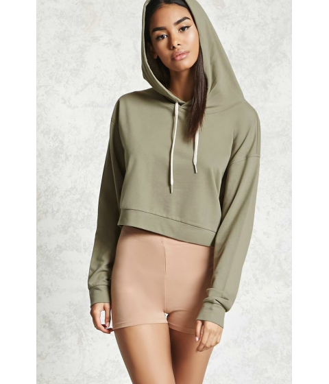 Imbracaminte Femei Forever21 Cropped French Terry Hoodie Olive