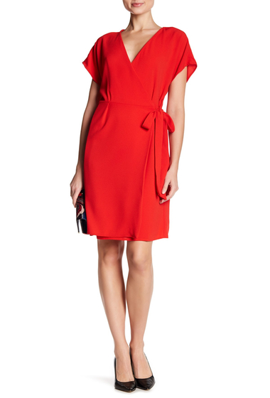 Imbracaminte Femei Bobeau Crepe Wrap Dress RED