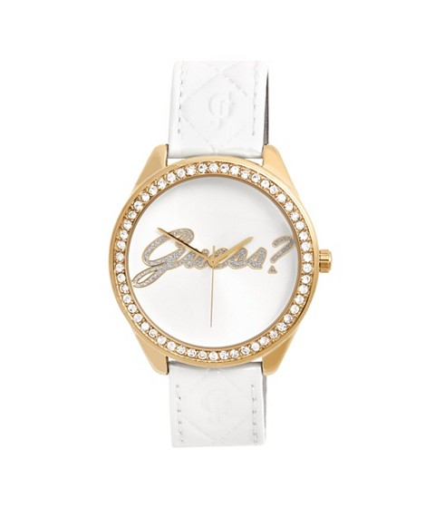 Ceasuri Femei GUESS White and Gold-Tone Logo Watch no color