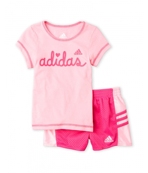 Imbracaminte Fete adidas (Toddler Girls) Two-Piece Logo Tee Perforated Shorts Set Cotton Candy
