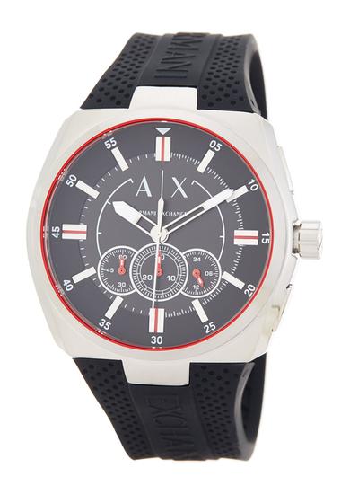 Ceasuri Barbati Armani Exchange Mens Trimeter Chronograph Silicone Strap Watch STAINLESS AND BLACK