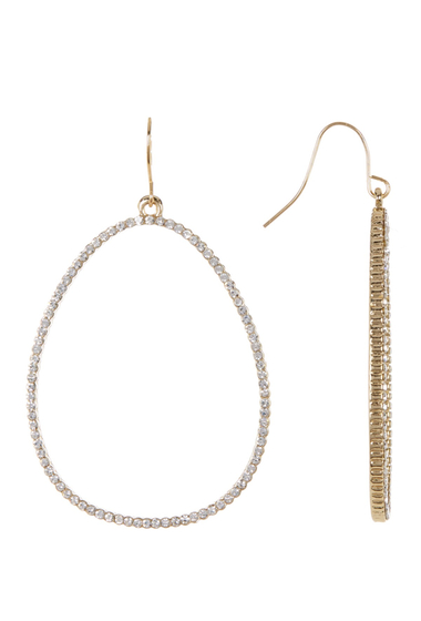 Bijuterii Femei Spring Street Crystal Pave Oval Hoop Earrings GOLD