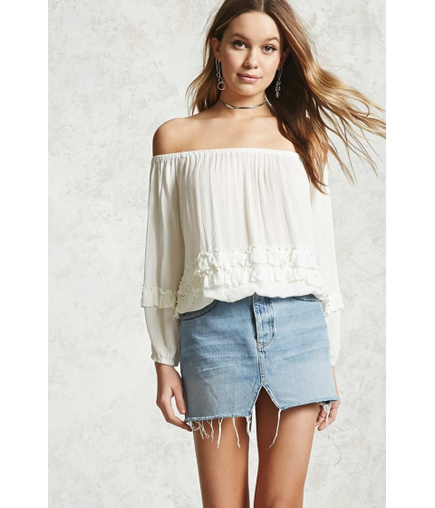 Imbracaminte Femei Forever21 Off-the-Shoulder Ruffled Top Cream