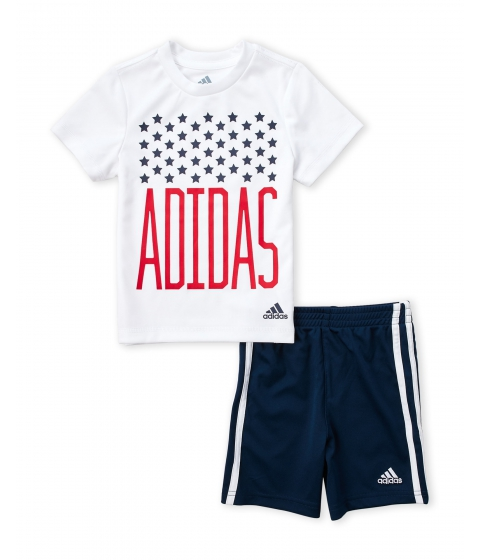 Imbracaminte Baieti adidas (Toddler Boys) 2-Piece Tee Shorts Set White