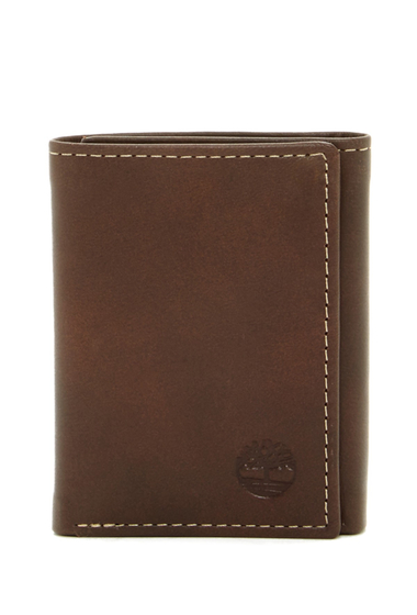 Accesorii Barbati Timberland Cloudy Logo Leather Trifold Wallet 01-BROWN