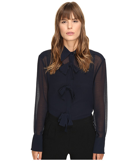 Imbracaminte Femei See by Chloe Georgette Blouse with Bow Detailing Navy