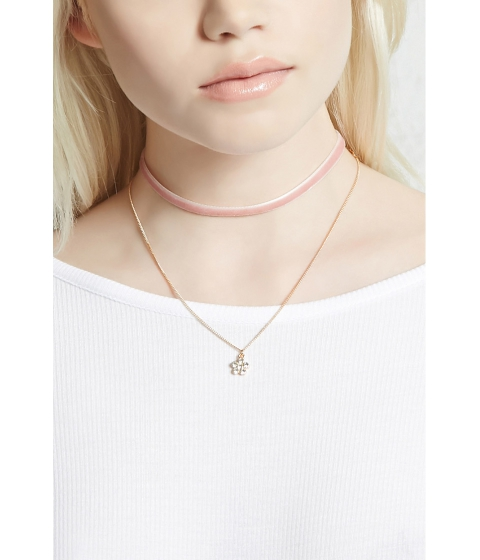Bijuterii Femei Forever21 Flower and Velvet Necklace Set Pinkgold