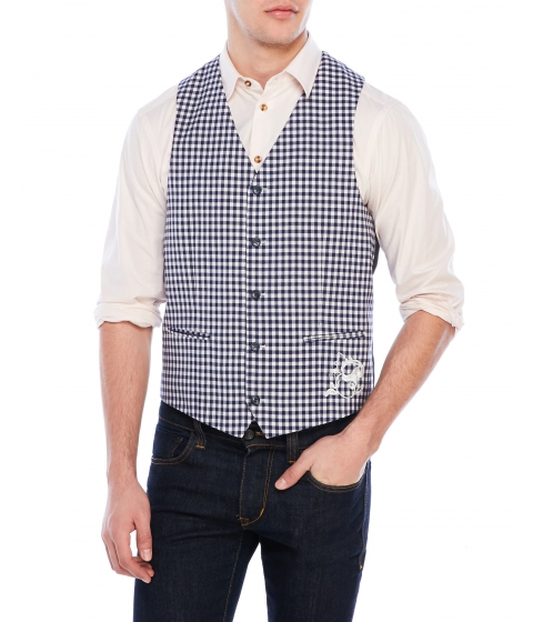 Imbracaminte Barbati Moods of Norway Checked Victor Vest Blue