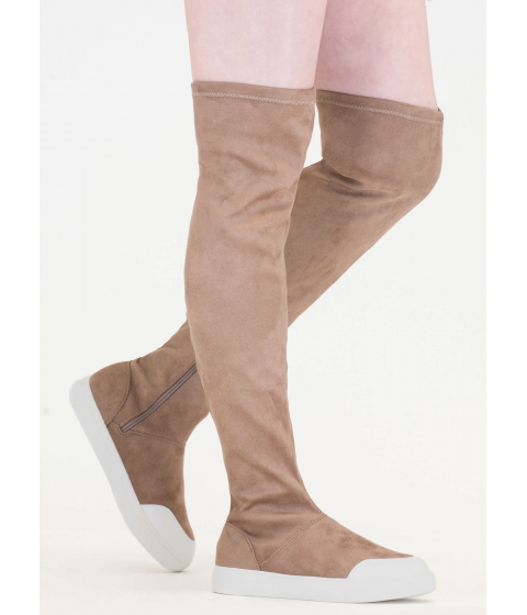Incaltaminte Femei CheapChic Way Up Top Thigh-high Sneaker Boots Taupe