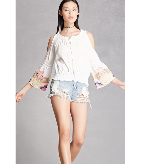 Imbracaminte Femei Forever21 Embroidered Bell-Sleeve Top White