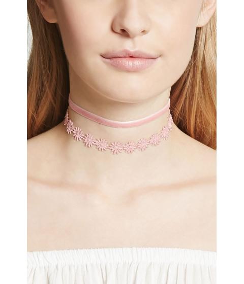 Bijuterii Femei Forever21 Crochet and Velvet Choker Set Pink
