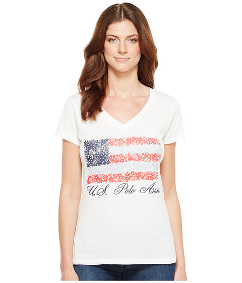 Imbracaminte Femei US Polo Assn V-Neck Flag Tee Optic White
