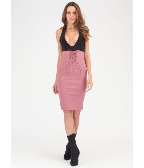 Imbracaminte Femei CheapChic Due Corset High-waisted Lace-up Skirt Mauve