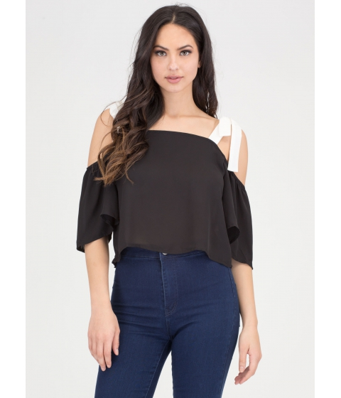 Imbracaminte Femei CheapChic Swing By Chiffon Off-shoulder Top Blackwhite