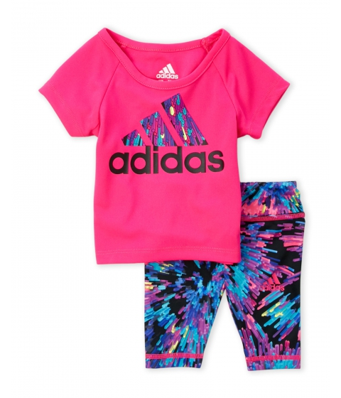 Imbracaminte Fete adidas (NewbornInfant Girls) Two-Piece Pink Tee Printed Capri Leggings Set Shock Pink