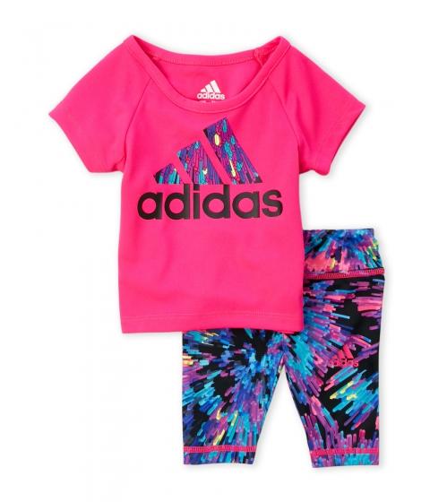 Imbracaminte Fete adidas (Infant Girls) Two-Piece Pink Tee Printed Capri Leggings Set Shock Pink