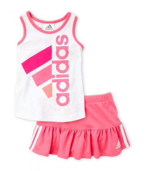 Imbracaminte Fete adidas (Infant Girls) Two-Piece Logo Tank Perforated Skort Set White Solar Pink