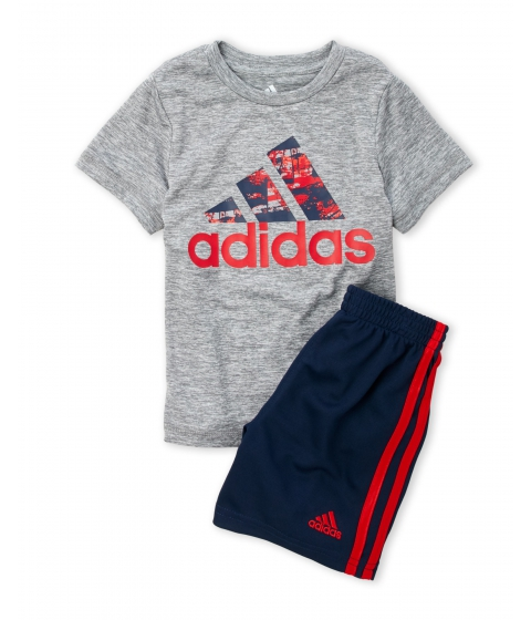 Imbracaminte Baieti adidas (Toddler Boys) Two-Piece Logo Tee Perforated Shorts Set Grey Black