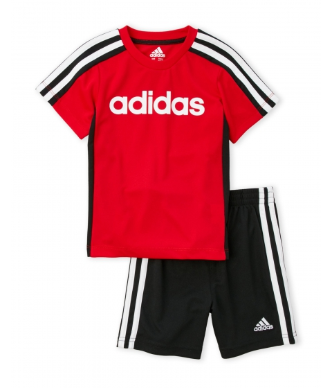 Imbracaminte Baieti adidas (Toddler Boys) Two-Piece Logo Tee Active Shorts Set Scarlet