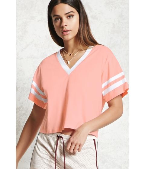 Imbracaminte Femei Forever21 Varsity Stripe Cropped Tee Salmonwhite