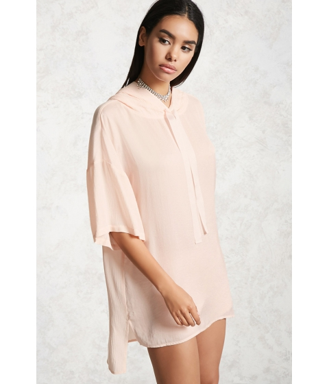 Imbracaminte Femei Forever21 Satin Combo Hooded Tunic Light pink