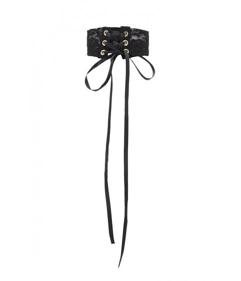 Bijuterii Femei Forever21 Lace-Up Lace Choker Black