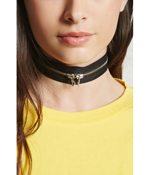 Bijuterii Femei Forever21 Two-Way Zipper Choker Blacksilver