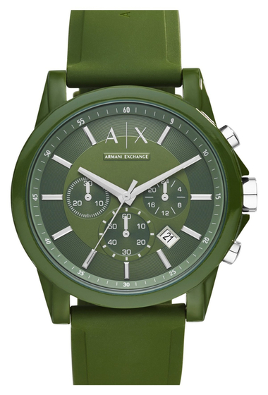 Ceasuri Barbati Armani Exchange Mens Outerbanks Strap Watch GREEN AND STAINLESS