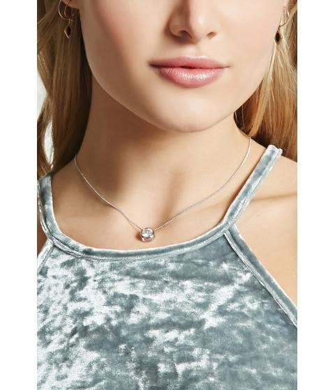 Bijuterii Femei Forever21 Rhinestone Pendant Necklace Silverclear