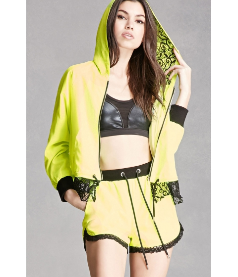 Imbracaminte Femei Forever21 Ing2Ing Contrast Lace-Trim Shorts Lime