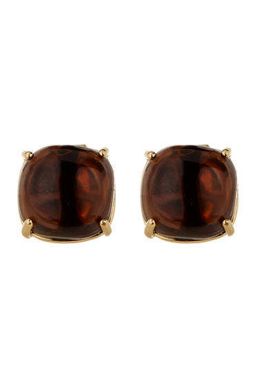 Bijuterii Trina Turk Cushion Cut Clip On Stud Earrings GOLD PL- MD BROWN