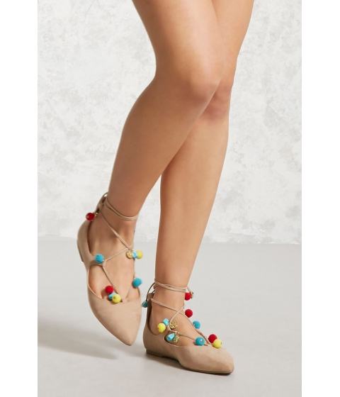 Incaltaminte Femei Forever21 Faux Suede Lace-Up Flats Beige