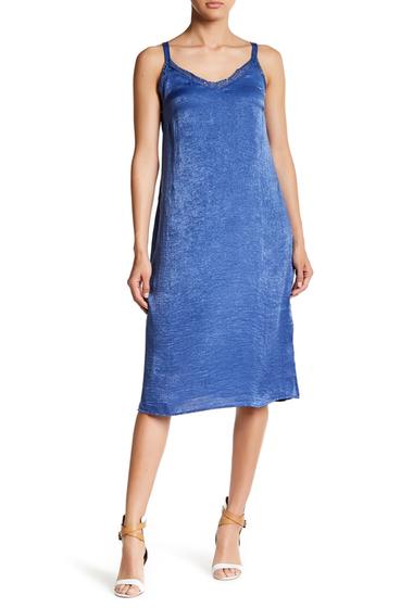 Imbracaminte Femei Bobeau Satin Lace Trim Slip Dress DARK DENIM W4398