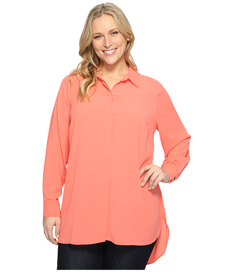 Imbracaminte Femei Vince Camuto Plus Size Long Sleeve Button Up Collared Tunic Coral Passion