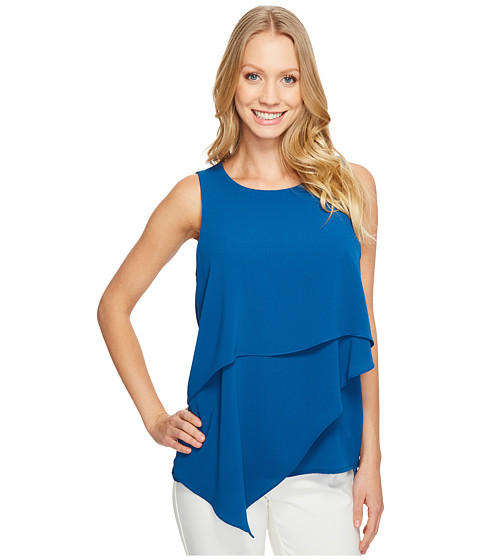 Imbracaminte Femei Vince Camuto Sleeveless Asymmetrical Layered Blouse Port Blue