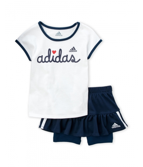 Imbracaminte Fete adidas (Toddler Girls) Two-Piece Logo Tee Short Set White Dark Indigo