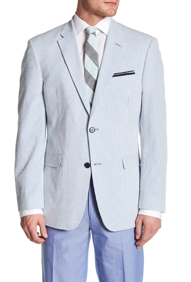 Imbracaminte Barbati Tommy Hilfiger Ethan Blue Striped Woven Two Button Notch Lapel Sport Coat BLUE-WHITE
