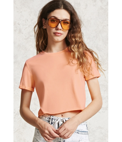 Imbracaminte Femei Forever21 Raw-Cut Crop Top Neon orange