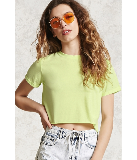 Imbracaminte Femei Forever21 Raw-Cut Crop Top Neon yellow