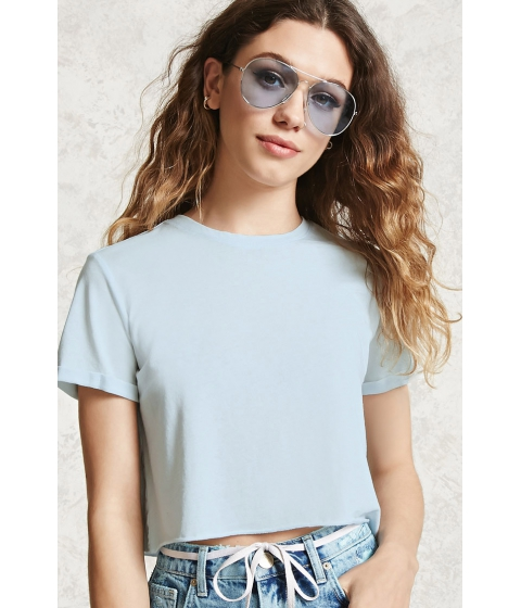 Imbracaminte Femei Forever21 Raw-Cut Crop Top Light blue