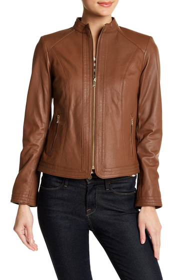 Imbracaminte Femei Cole Haan Leather Front Stitch Panel Jacket WHISKEY