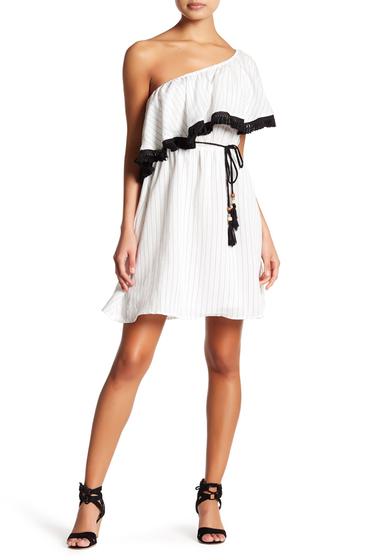 Imbracaminte Femei Flying Tomato Stripe One Shoulder Mini Dress IVORY-BLACK