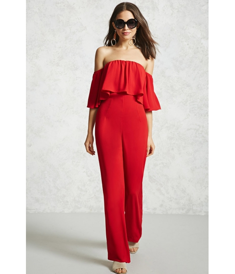 Imbracaminte Femei Forever21 Off-the-Shoulder Jumpsuit Red