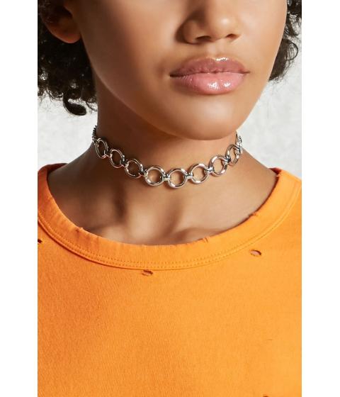 Bijuterii Femei Forever21 O-Ring Chain-Link Choker Silver