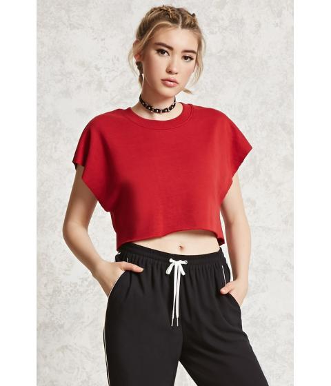 Imbracaminte Femei Forever21 Raw-Cut Boxy Sweatshirt Cherry
