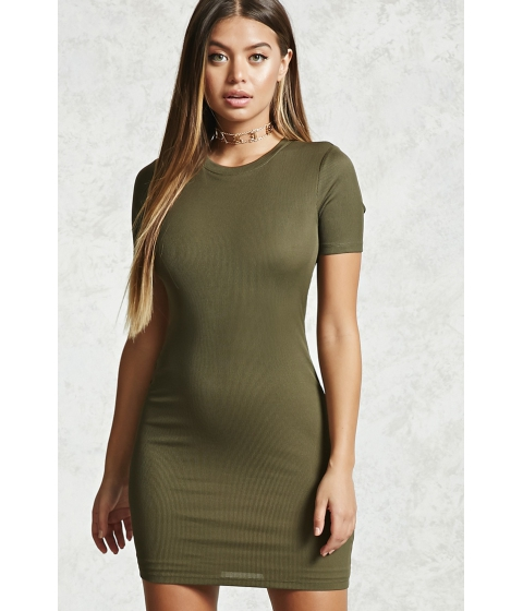 Imbracaminte Femei Forever21 Ribbed Knit Bodycon Dress Olive