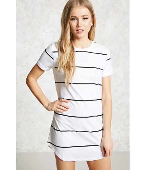 Imbracaminte Femei Forever21 Striped Mini T-Shirt Dress Whiteblack