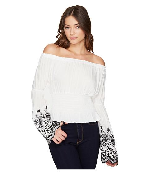 Imbracaminte Femei Romeo Juliet Couture Off the Shoulder Embroidery Top WhiteBlack
